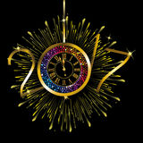 Happy New Year - 2017. Gold and rainbow color clock with New Year numerals on a radiating grunge black background stock illustration