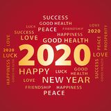 2020 Happy New Year gold and red greeting card. stock photo