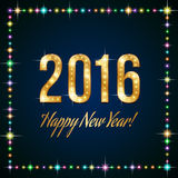 Happy New Year. Gold shiny headline New year 2016 on dark blue background in a frame of multicolor glowing lights Royalty Free Stock Image