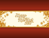 Happy new year 2017 gold snowflakes Stock Image
