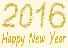 Happy New Year 2016 gold spangles. Happy New Year 2016 - the numbers of 2016 are handwritten in gold spangles Stock Images
