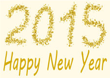 Happy New Year 2015 in gold spangles Stock Photos