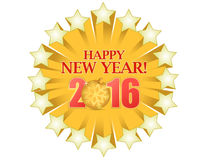 Happy new year 2016 gold star Royalty Free Stock Image