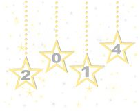 Happy new year 2014 gold stars. Happy new year 2014 background stock illustration