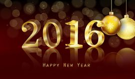 Happy new year 2016 with gold text background Stock Photography
