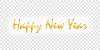 Happy New Year gold text decoration. Bright golden texture lettering, isolated white transparent background. Design. Typography for holiday, greeting card stock illustration