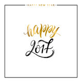 Happy New Year gold text. 2017 Happy New Year gold text on white background, hand painted letter, golden vector christmas lettering for holiday card, poster Royalty Free Illustration