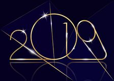 2019 Happy New Year with gold texture, modern Background, vector isolated or black background, elements for calendar and greetings. 2019 Happy New Year with gold stock illustration