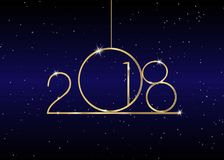 2018 Happy New Year with gold texture, modern style,. Isolated or blue galaxy background, elements for calendar and greetings card or celebration themed Royalty Free Stock Photography