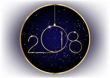 2018 Happy New Year with gold texture, modern style,. Isolated ,  blue galaxy background, elements for calendar and greetings card or celebration themed Royalty Free Stock Images