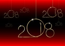 2018 Happy New Year with gold texture, modern style,. 2018 Happy New Year with gold texture whit christmas ball, gold plated metal, isolated or black and red Royalty Free Illustration