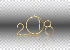 2018 Happy New Year with gold texture whit christmas ball, gold plated metal,  isolated Stock Photos