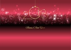 2018 Happy New Year with gold texture whit christmas ball, gold plated metal,. Elements for calendar and greetings card or Christmas themed invitations, red Stock Image