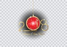 2018 Happy New Year with gold texture whit red christmas ball,  , elements for calendar and greetings card. 2018 Happy New Year with gold texture whit christmas Stock Photos