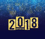 Happy new year 2018 gold theme, winter christmas background with balls.  Royalty Free Stock Images