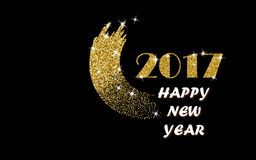 2017 Happy New Year Gold Vector. Design with Glitter Stroke Brush on a Black Background. Golden Glitter New Year Poster. Background for Flyer, Banner, Web Stock Photography