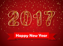 Happy new year 2017 Gold. Vector illustration Royalty Free Stock Photo