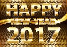 Happy New Year 2017 gold vector. Happy New Year 2017 gold and mesh design vector illustration stock illustration