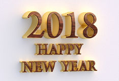 Happy New Year 2018. Gold and wood text - 3D design template on Royalty Free Stock Image