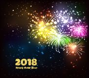 Happy new year golden 2018 background fireworks lights effects.  Stock Photo