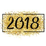 Happy new year. Golden background for flyer, poster, sign,. Happy new year. Gold glitter 2018. Golden background for flyer, poster, sign, banner web header Royalty Free Stock Photo