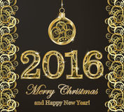 Happy new 2016 year golden background. Vector illustration Royalty Free Stock Photography