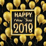 2018 Happy New Year Golden Balloons Black Ornaments. Golden balloons with golden frame and text Happy New Year 2018 on the black wallpaper Stock Photography