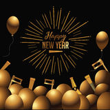 Happy New Year golden balloons with champagne Royalty Free Stock Photo