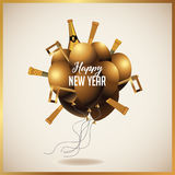 Happy New Year golden balloons with champagne. Party blowers and noisemakers. EPS 10 vector illustration Stock Photos