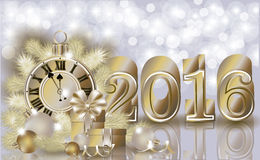 Happy new 2016 year golden banner Stock Image