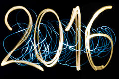 Happy new year 2016. Golden and blue light painting year 2016 royalty free illustration