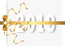 Happy new year 2019 with golden bow, ribbon and diamond. Greeting card vector illustration stock illustration