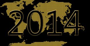 Happy new year. Golden happy new year 2014 card stock illustration