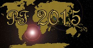 Happy new year 2015. Golden happy new year 2015 card Stock Images