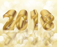 Happy New 2018 Year golden card. Vector Royalty Free Stock Photography