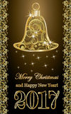 Happy new year golden card, vector. Happy new 2017 year golden card, vector illustration Royalty Free Stock Images