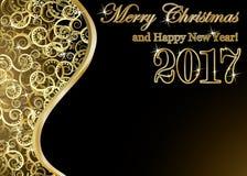 Happy new 2017 year golden card, vector. Illustration Stock Photo