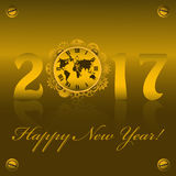 2017 Happy New year with golden clock with gears. And map Royalty Free Stock Image