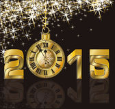 Happy New 2015 Year and golden clock. Vector illustration Stock Illustration