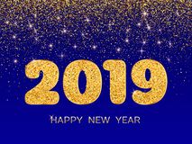 2019 Happy New Year. Golden confetti on blue background. New Yea
