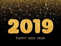 2019 Happy New Year. Golden confetti on dark background. New Yea