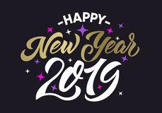 Happy New Year 2019 golden cristmas calligraphic text royalty free illustration