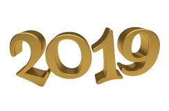 Greeting Card Design Template Gold 2019 Lettering Isolated. Happy New Year 2019, Golden 3D Numbers, New 2019 Year 3d Text on White Background, Greeting Card Royalty Free Stock Image