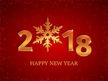 2018 Happy New Year golden 3d numbers with snowflake on the red Christmas background with falling snow, stars, and sparkles. Greeting card, postcard Royalty Free Stock Image