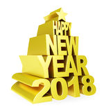 Happy New Year 2018. Golden 3D numbers and text on a white background. Royalty Free Stock Photos