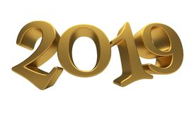 Greeting Card Design Template Gold 2019 Lettering Isolated. Happy New Year 2019, Golden 3D Numbers, New 2019 Year 3d Text on White Background, Greeting Card Royalty Free Stock Photos