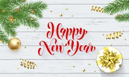 Happy New Year golden decoration, greeting card calligraphy font on white wooden background. Vector Christmas tree and Xmas gift w Royalty Free Stock Image