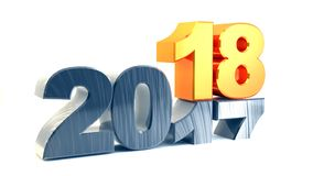 Happy new year 2018. New 2018 year golden figures isolated on white background. 3D rendered Illustration for advertising Stock Photography