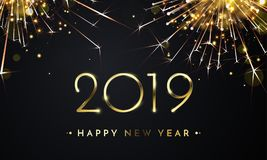 2019 Happy New Year golden firework vector card stock illustration