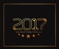 Happy new year 2017 golden frame design Stock Photos